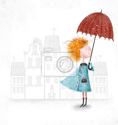 Wall mural Red-head girl with umbrella in blue coat on city background.