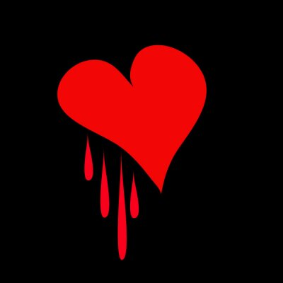 red heart on a black background for your design