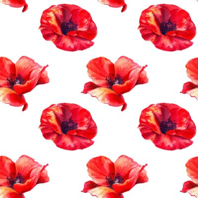 Wall mural Red poppies on a white background. Floral seamless pattern with big bright flowers.Summer watercolour illustration for print textile,fabric,wrapping paper.
