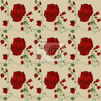Wall mural red rose pattern