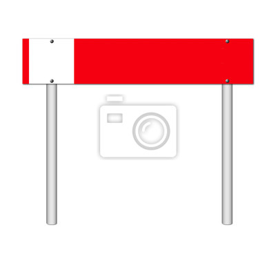 red sign on white