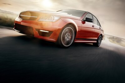 Wall mural Red Sport Car Fast Drive Speed On Asphalt Road