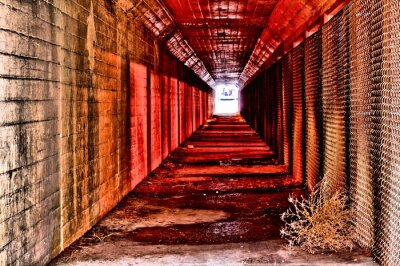 Wall mural red tunnel