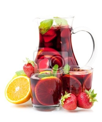 Wall mural Refreshing fruit sangria in jug and two glasses