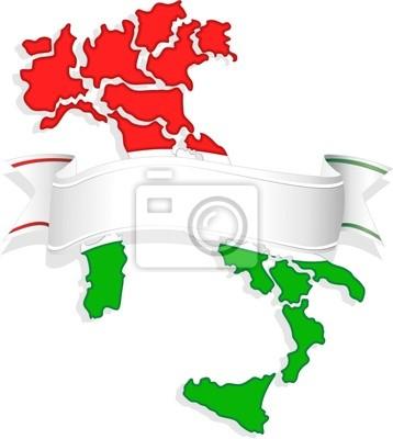 Regioni d'Italia con Banner-Italy Map-Vector