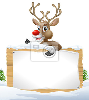 Reindeer Snowy Christmas Sign