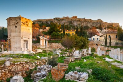 Wall mural Remains of the Roman Agora and Acropolis in Athens, Greece.