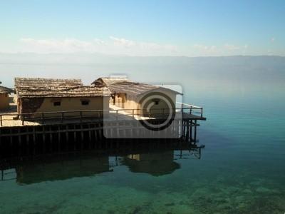 Remote Village Over Lake