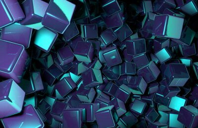 Wall mural Rendered 3D Cubes Randomly Distributed in Space, Dark Blue Cubes