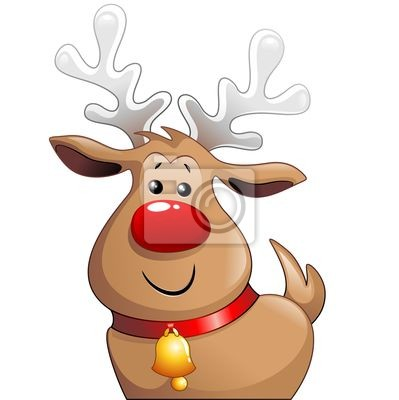 Wall mural Renna Babbo Natale Cartoon-Cute Christmas Reindeer-Vector