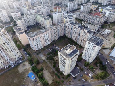 Residential area of Kiev (drone image)