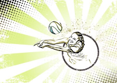 Wall mural retro beach volleyball poster background