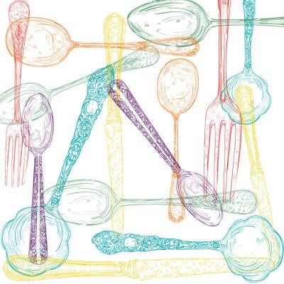 Wall mural Retro cutlery sketch style set.