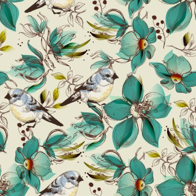 Wall mural Retro seamless pattern, cute flowers and birds print