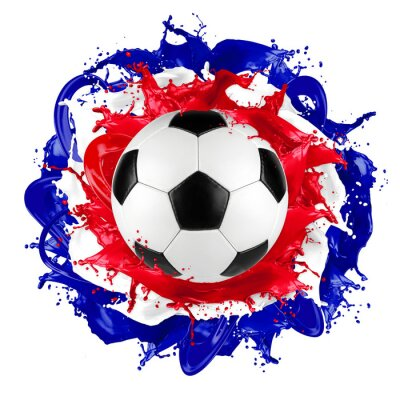 Wall mural retro soccer ball french flag color splash