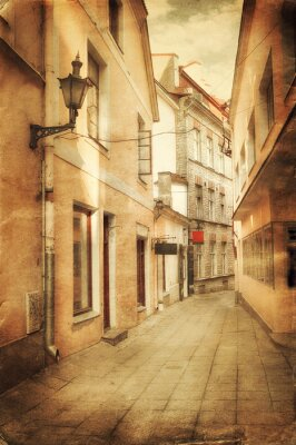 Wall mural Retro style image of old european street
