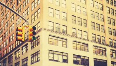 Wall mural Retro stylized photo of traffic lights in New York City, shallow depth of field.