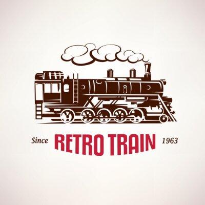 Wall mural retro train, vintage  vector symbol, emblem, label template
