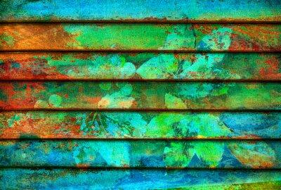 Wall mural rhythmic series wooden colorful lines