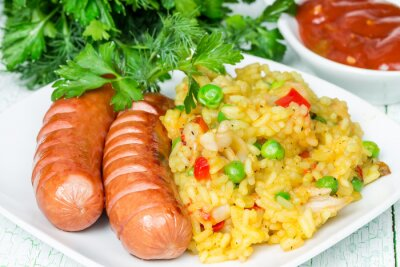 Rice with two grilled sausages