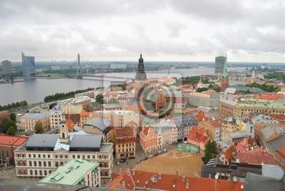 Riga center with Daugava river. View from above