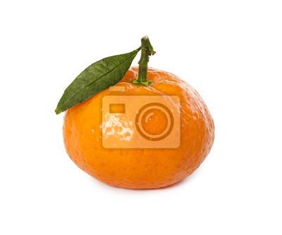 Ripe fresh mandarin with leaf
