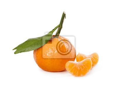 Ripe fresh mandarin with leaves