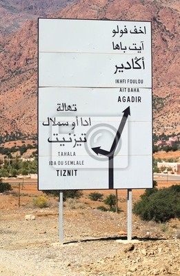 Road sign in Anti Atlas Mountains, Morocco
