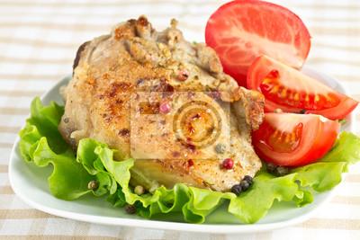 roasted pork fillet on a piece of lettuce