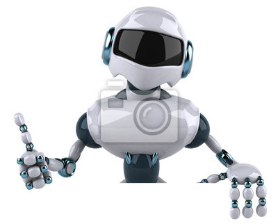 Robot with a white panel