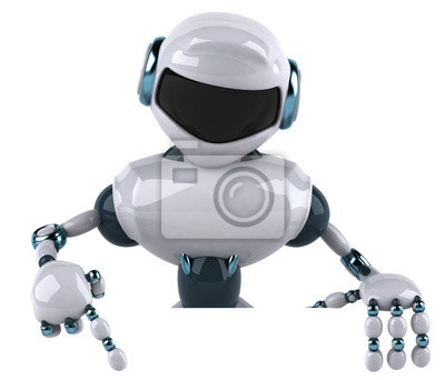 Wall mural Robot with a white panel