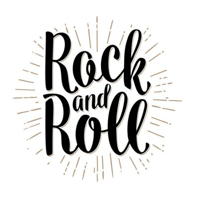 Wall mural Rock and Roll lettering with rays. Vintage vector
