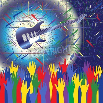Wall mural Rock concert background with guitar and hands up