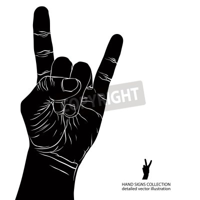Wall mural Rock on hand sign, rock n roll, hard rock, heavy metal, music, detailed black and white vector illustration.