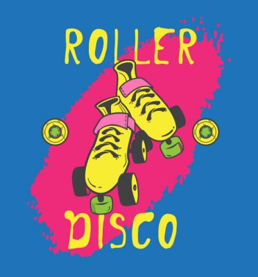 Wall mural Roller skate and roller_disco graphic design for t-shirt