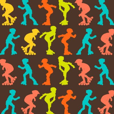 Wall mural Roller skating pattern vector background concept