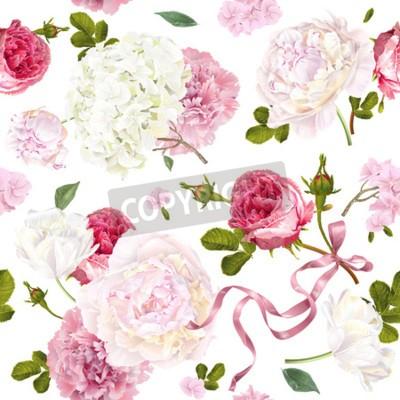 Wall mural Romantic garden flowers pattern