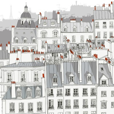 Wall mural Roofs of Paris - Vector illustration