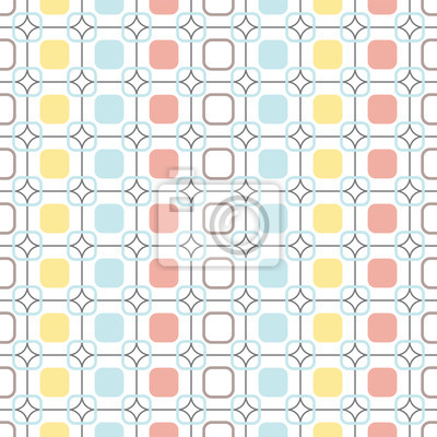 Wall mural Rounded squares repeatable seamless vector pattern.