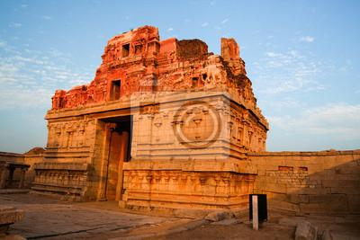 Ruins in hampi india at sunset