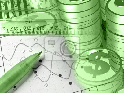 Ruler, pen and coins, in greens