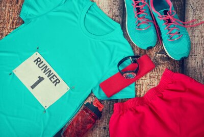 Wall mural Running gear laid out ready for race day