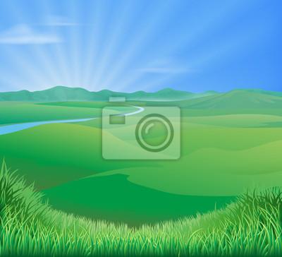 Rural landscape illustration