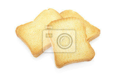 Wall mural Rusk bread on white, clipping path included