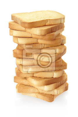 Wall mural Rusk bread pile on white, clipping path included