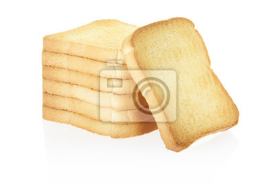 Wall mural Rusk bread slices on white, clipping path included