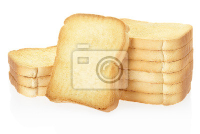 Wall mural Rusk bread toasts on white, clipping path included