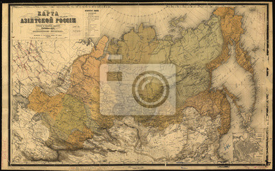 Russia in Asia old map 1868