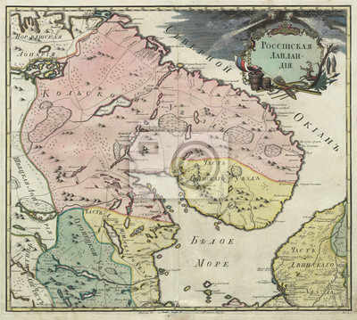 Russian Lapland of Russian Empire map - 19 c.