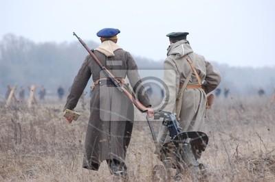 Russian soldiers.Civil war 1918. reenacting